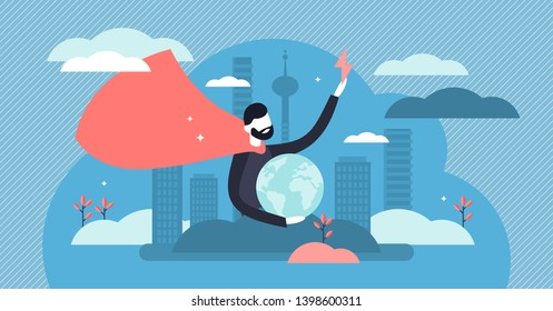 Hero vector illustration. Flat tiny strong rescue defender persons concept. Abstract earth security with ideal leadership and supernatural protection. Confidence and powerful strength character symbol