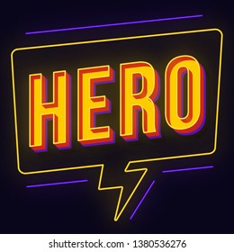 Hero vintage 3d neon light lettering. Retro bold font, typeface. Pop art stylized text. Old school style letters. 90s, 80s comics poster, banner, t shirt typography design. Dark blue color background