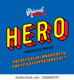 """Hero"" Vintage Superhero Inspired 3D Alphabet. Colorful Comics Retro Typeface. Vector Illustration"