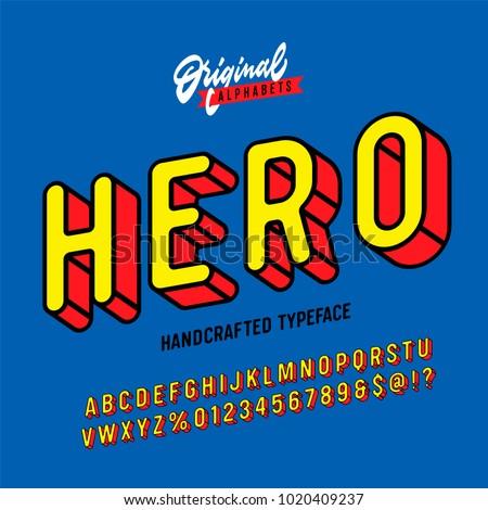 hero vintage superhero inspired 3 d alphabet のベクター画像素材