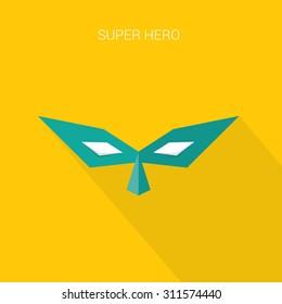 hero wrestling mask. superhero flat style icon or logo design template. vector illustration