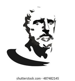 Herodotus - vector portrait.