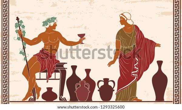 Héroes de antiguos mitos griegos Dionisio y Ariadna con jarras de vino.