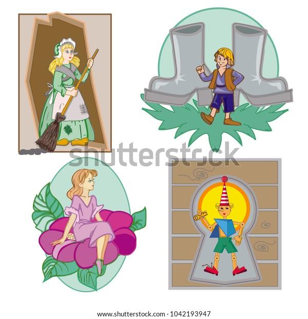 Heroes Fairy Tales Thumbelina Boy Finger Stock Vector ...