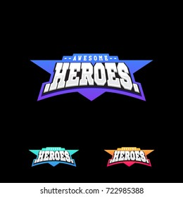 Heroes or Superhero sport text logo. Vector, isolated for t-shirt typography in retro style emblem