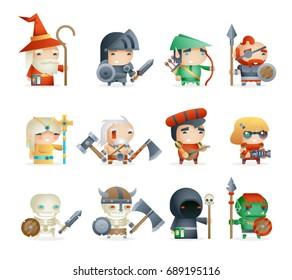 Heroes Villains Minions Fantasy Game RPG Character Vector Icons Set Vector Illustration