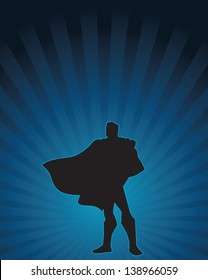 Heroic silhouette of a confident male figure.