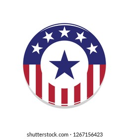 Heroic USA Flag Badge With Blue and White Star Shield