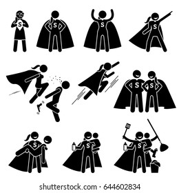 Heroine Female Superhero. Cliparts depicts a super powerful woman in various poses and actions. She is also a busy mom that can do housework and take care of her family.