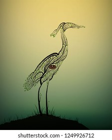 Heron bird look like tree branches with the bird nest inside, protect the birds and forest, protect the swamp, vector