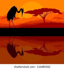 Heron bird silhouette  in wild mountain nature landscape background illustration vector