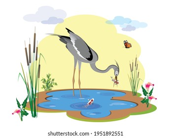A heron bird stands in the lake water and holds a koi fish in its beak. Vector illustration for design.
