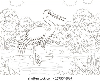 Heron by a small lake among cane, grass and flowers of a meadow on a summer day, vector illustration in a cartoon style