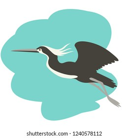 heron in flight , vector illustration , flat style , profile view