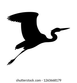 heron  flying, vector illustration ,  black silhouette , profile view