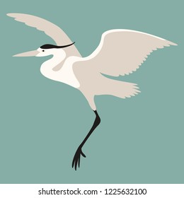 the heron is flying vector illustration flat style profile view