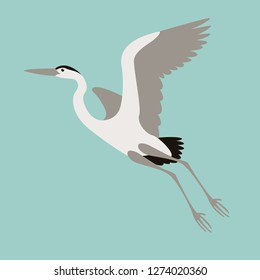 heron flying , vector illustration , flat style, profile view