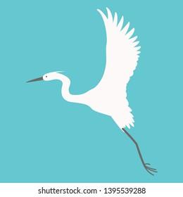 heron flying, vector illustration,flat style,profile side