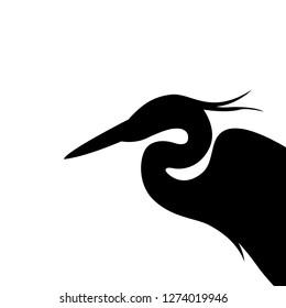 heron  head , vector illustration ,  black silhouette, profile view