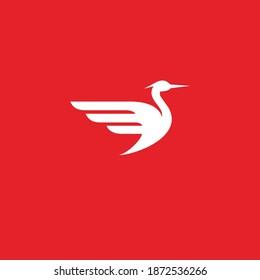 heron logo design vector template