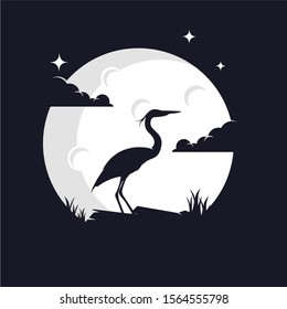 Heron Silhouette with Moon Background Logo Template