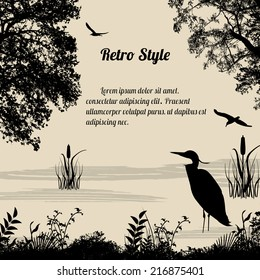 Heron silhouette on lake on retro style background, vector illustration