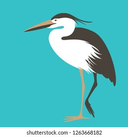 heron standing, vector illustration, flat style ,profile