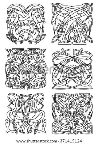 Heron Stork Crane Birds Ornaments Patterns Stock Vektorgrafik
