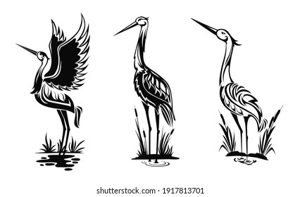 Heron or wader birds vector icons, black hern silhouettes stand in swamp water with reeds isolated on white side view wading in marsh, egrets with ornate body for tattoo design, monochrome emblems set