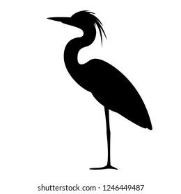 heron walking , vector illustration,,profile view,  black silhouette