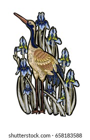 Heron-crane embroidery with iris flowers.  Vector fashion embroidered design on white background for textile.