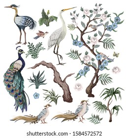 Herons, peacock, peonies and bird in chinoiserie style isolated. Vector.