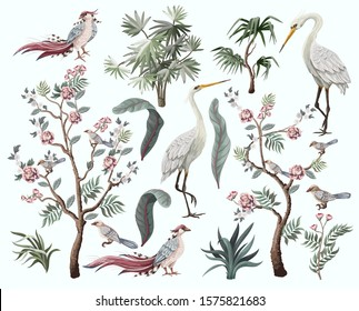 Herons, peonies and bird in chinoiserie style isolated. Vector.