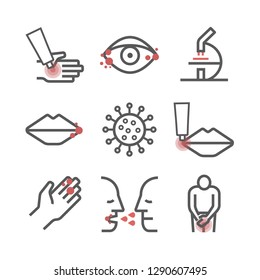 Herpes. Symptoms, Treatment. Line icons set. Vector signs for web graphics.