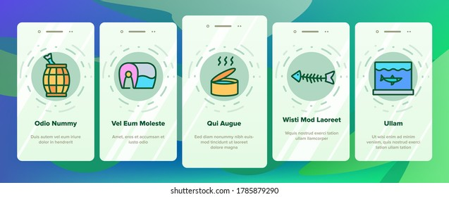 Herring Marine Fish Onboarding Mobile App Page Screen Vector. Herring Sliced Piece And Fillet, Skeleton And Carcass, Cooked And Frozen, Package And Box Illustrations