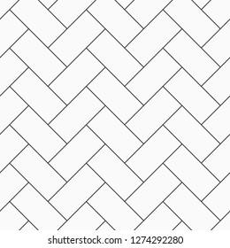 Herringbone parquet seamless pattern. Outline vintage wooden floor. Repeating geometric tiles. Monochrome vector background.