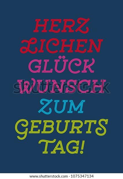 Herzlichen Zum Geburtstag Happy Birthday German Stock Vector