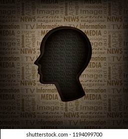 hesitation concept, man profile with text inside and text pattern outside, mass media and human  mind concept, vector,