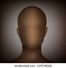 hesitation concept, man without face idea and text, life in hesitation, vector