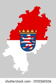 Hessen map and flag vector silhouette illustration isolated on  background. Coat of arms of Hesse, Hessen, Germany state.