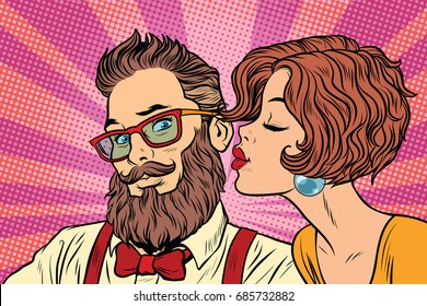 Heterosexual couple, beautiful woman kisses a hipster. Pop art retro vector illustration