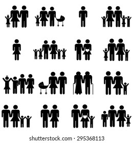 Heterosexual family icons set illustration