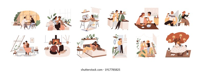 Heterosexual and homosexual love couples during holiday celebration. Scenes with happy lovers on indoors and online romantic dates. Color flat cartoon vector illustration isolated on white background