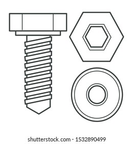 Hex bolt and nut, piece of hardware close up. Socket cap screw, fastener, hexagonal, metal or stainless steel, construction part. Flat linear black and white illustration.