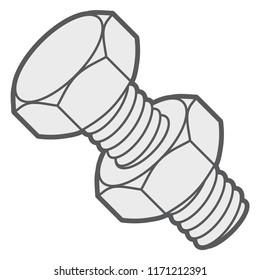 Hex bolt and nut. Vector illustration.