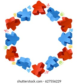 Hex frame of meeples for board games. Red and blue game pieces, and resources counter icons isolated on white. Vector border for design boardgames advertisement or template of geek t-shirt print