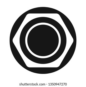 Hex nut flat icon vector