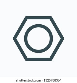 Hex nut icon, flange isolated vector icon