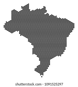 Hex Tile Brazil map. Vector geographic scheme on a white background. Abstract Brazil map composition is made of hexagonal elements.