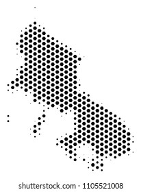 Hex tile Skyros Greek Island map. Vector halftone geographic scheme on a white background. Abstract Skyros Greek Island map concept is designed of hex-tile pixels.